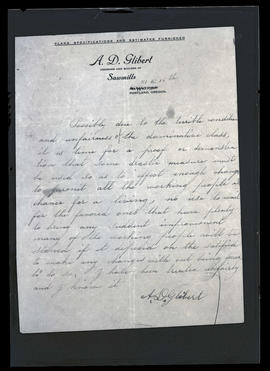 Letter by Albert D. Glibert, killer of mill superintendent John W. Bevis