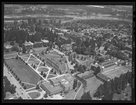 Aerial view of the University of Oregon, Eugene