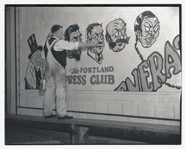 Unidentified man painting caricatures on Portland Press Club mural or billboard