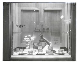 Window display of watches at Stone-Margulis jewelry store, Portland