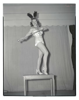 Dancer posing on table