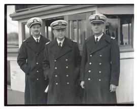 USS Constitution officers Lieutenant. H. St Johns Butler,  Commander Louis J. Gulliver, and Lieut...