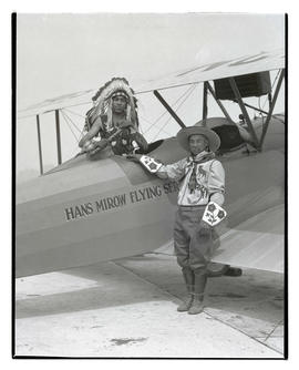Kiutus Tecumseh and his father with plane at Swan Island airport