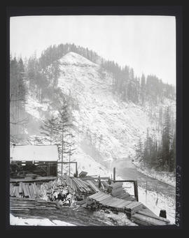 Oak Grove project, view of penstock line from office of Hurley-Mason Company office