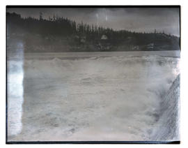 Al Fausett going over Willamette Falls in canoe