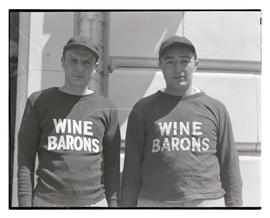 Two baseball players for Wine Barons