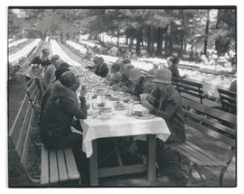 Unidentified diners at outdoor event