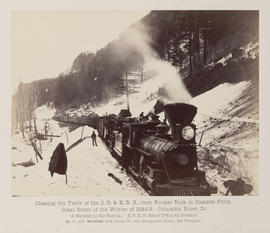 """D.107. Clearing the Track of the O.R. & N.R.R., from Rooster Rock to Oneonta Falls. A Buckle..."