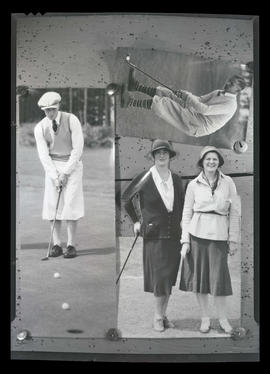 Three pictures of golfers