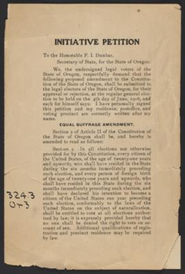 Initiative Petition for Equal Suffrage Amendment, 1906