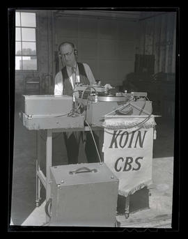Man at KOIN radio stand