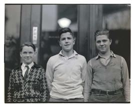 Three unidentified boys, half-length portrait