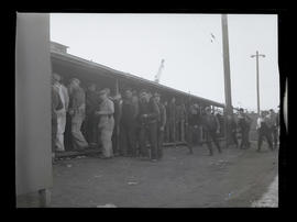 Workers outside building, Albina Engine & Machine Works, Portland