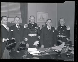 Portland Mayor Joseph K. Carson with members of German military at city hall