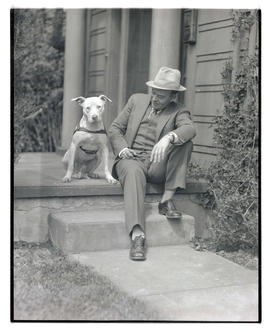 Man and dog on stoop