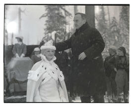 Governor Julius L. Meier crowning queen of 1933 Winter Sports Carnival