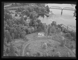 Aerial view of Van Evera Bailey home on Willamette River