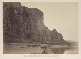 """O.37. Rock Bluff and Tunnel No. 3 from the River Bank."""