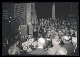Franklin D. Roosevelt speaking at Portland Civic Auditorium during campaign visit
