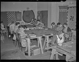 People weaving at Elks Temple Building for WPA project