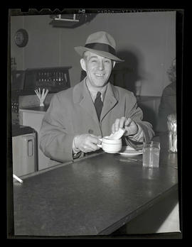 Employee in restaurant or cafeteria, Albina Engine & Machine Works, Portland