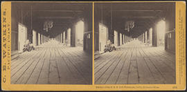 """Interior of the O. S. N. Co's Warehouse, Celilo, Columbia River"" (Stereograph 1332)"