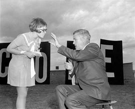 Governor Tom McCall and Ann Kolibaba at a 1970 Earth Day Celebration