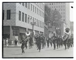 Hill Military Academy band marching in parade