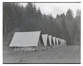 Tents at Civilian Conservation Corps' Toll Gate camp near Rhododendron, Oregon?