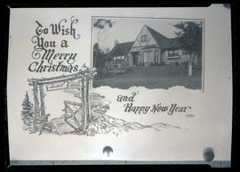 1930 Christmas card featuring drawing of gate and photograph of house