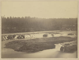 """Panorama Oregon City & Falls from West Shore. From former site of Linn City."" (Mam..."