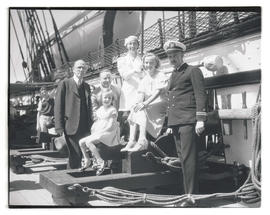 Descendants of Revolutionary War captain William Van Cleve aboard USS Constitution in Portland