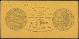 "Verso of, ""The Garrison, Cascades, Columbia River."" (Stereograph 1257)"