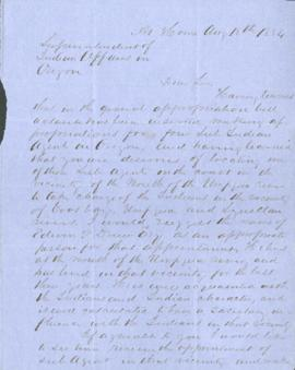 Letter from Matthew Deady to Joel Palmer regarding an appointment of an Indian Agent