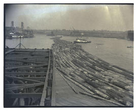 Timber raft on Willamette River, Portland