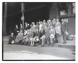 Ad Club members posing outside Union Station, Portland