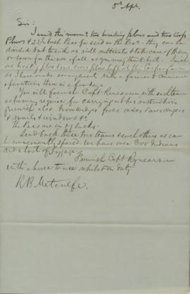 Letter from R. B. Metcalfe