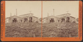 """Machine Shop, O.S.N. Co's, Dalles City: Columbia River."" (Stereograph 1308)"