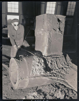 Cleaning skeg from castings at Columbia Steel Casting Company