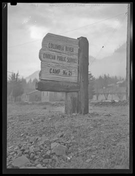 Road sign at Civilian Public Service Camp #21 at Wyeth