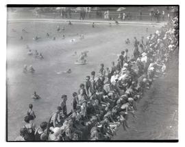 Crowd at outdoor pool