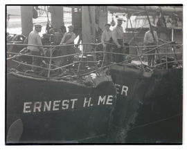 Damaged hull and railing of steamer Ernest H. Meyer