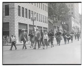 Fife and drum corps marching in parade