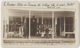 Two unidentified men in front of the S. Baden store, The Dalles, Oregon