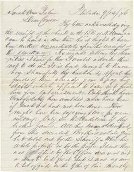 Letter to Sarah Ann Palmer from Alex J. Derbyshire regarding financial matters.