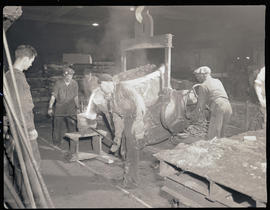Pouring steel in the Columbia Steel Casting Company foundry