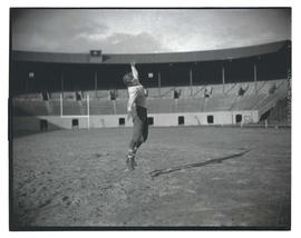 Football player at Multnomah Stadium