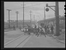 Railroad workers on Southeast Grand Avenue