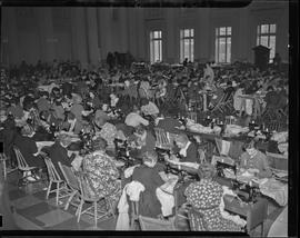 People sewing at Elks Temple Building for WPA project