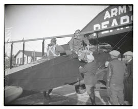 Lieutenant Oakley G. Kelly and Captain John M. Stanley in plane after return to Pearson Field